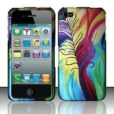 For Apple iPhone 4 4S Rubberized HARD Case Snap On Phone Cover Peacock Feathers