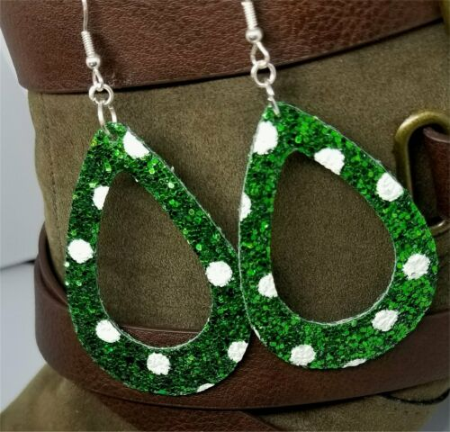 Details about  /Chunky Green Glitter Double Sided FAUX Leather Cut Out Teardrop Earrings