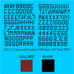 USA 45 DEG ID LETTERS 24 INCH water slide transfers decals FP837 BLACK 1//48
