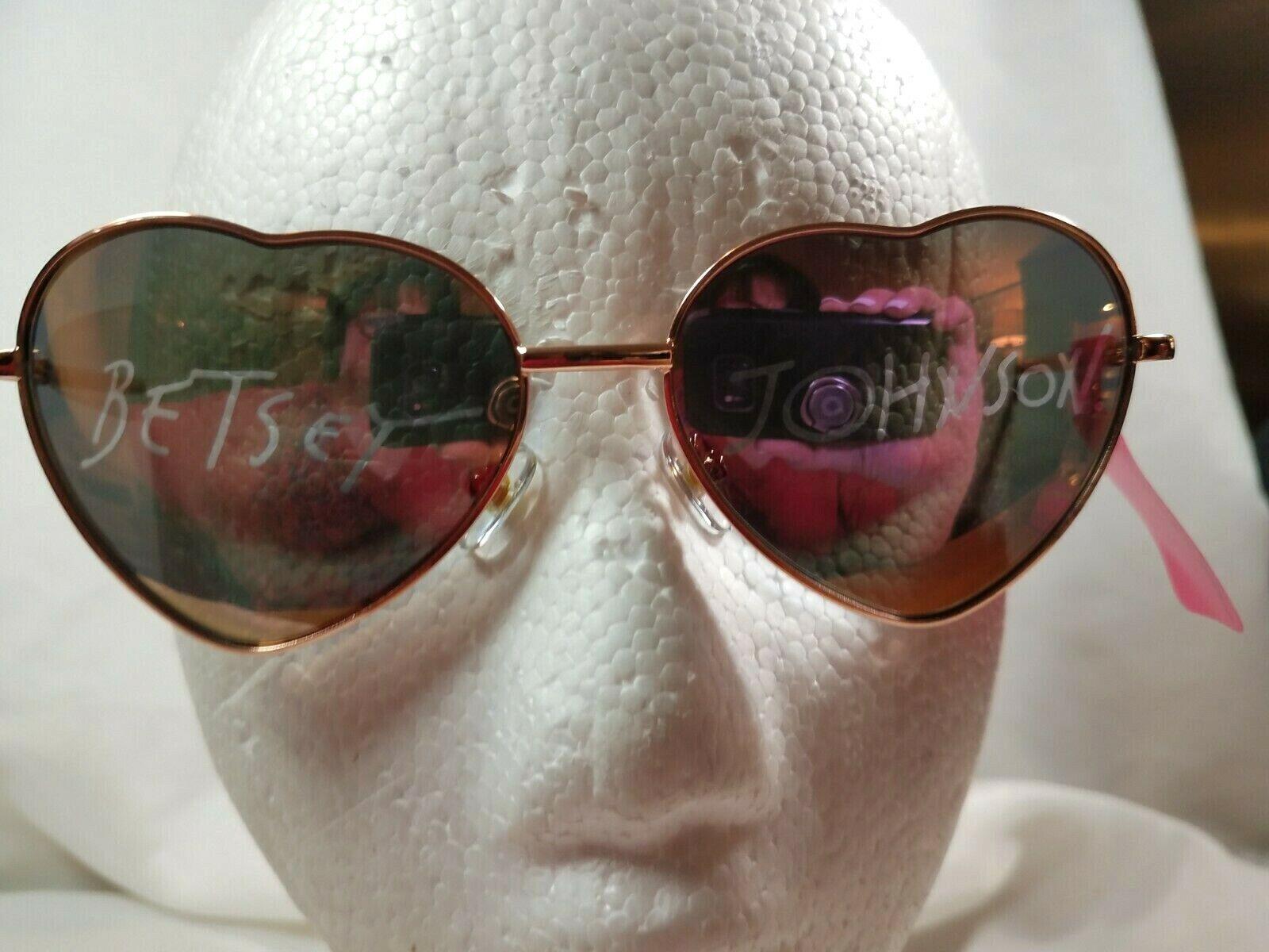 NWT Betsey Johnson Heart Aviator Style Sunglasses Rose Gold