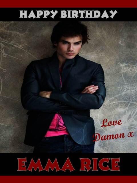 Personalised Vampire Diary Damon Ian Somerhalder Birthday Greeting