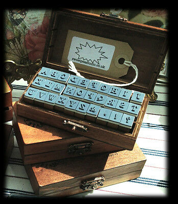 Gorgeous Vintage-Style Wooden UPPER CASE ALPHABET Rubber Stamp Kit-FREE POSTAGE
