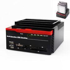 "2.5""3.5"" SATA IDE HDD Docking Station W USB HUB Card Reader&Cloning"