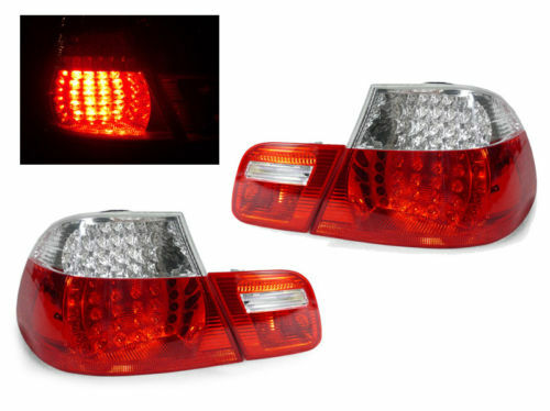 No Error DEPO 4 Pieces Red//Clear LED Tail Light For 2000-03 BMW E46 2 Door Coupe