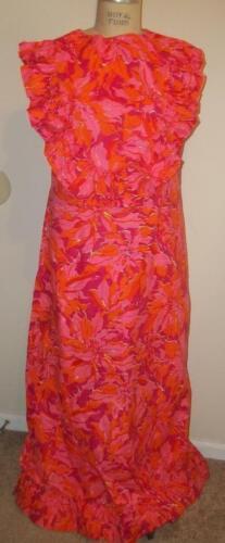 Vintage Esmeralda Fashions Womens Reddish Orange Floral Maxi Sun Dress Large