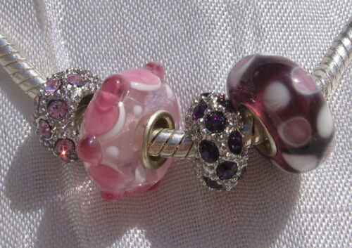 MIX 4 DONUTS CHARMS PERLES RONDELLE STRASS VERRE ROSE MAUVE SINGLE CORE *D683