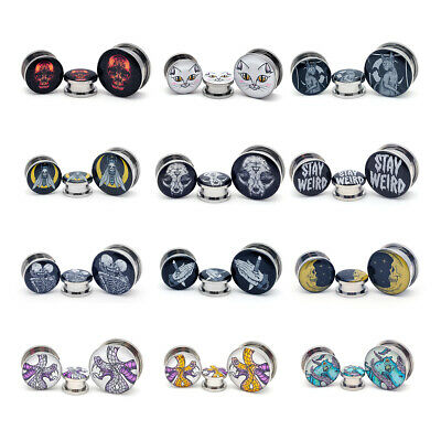 Pair of Screw on Skull Style 6 Picture Plugs gauges 16g thru 1 inch