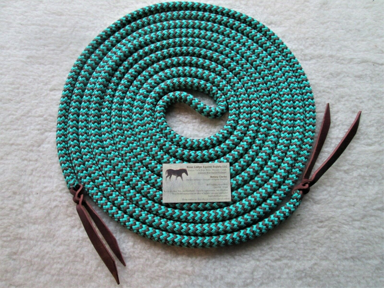 22' SNAKESKIN Turquoise    BRN) Yacht Rope Mecate Reins 4 Slobber Straps or Bosal  top brand