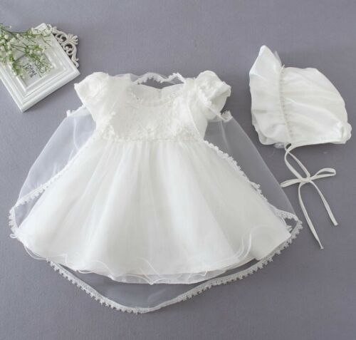 Baby Girls Christening Gown Baptism Dress White Lace Baby Dress with Bonnet