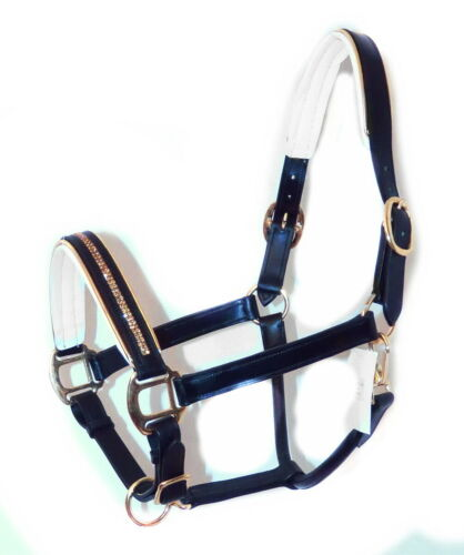FSS GLOW TOPAZ CRYSTAL GOLD Piping WHITE Padded HALTER BRIDLE COMBO ⭐era123⭐