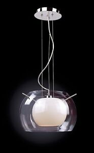 Lampadario Sospensione Vetro Trasparente.Moderno Luce A Sospensione O30cm Lampada Plafoniera Vetro