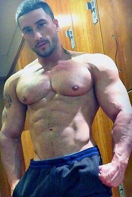 Shirtless Male Beefcake Hunk Muscular Body Builder Veins Flexing PHOTO 4X6 P2022
