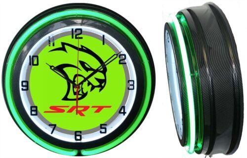 Dodge SRT Hellcat Green Sign 18 Neon Clock Charger Challenger Carbon Fiber