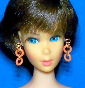 Barbie-Dreamz-NEON-ORANGE-DOUBLE-HOOPS-Mod-Hoop-Earrings-Doll-Jewelry
