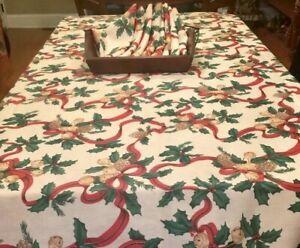 Vintage Christmas Tablecloth 8 Napkins 70 X 102 Wrinkle Free Ebay