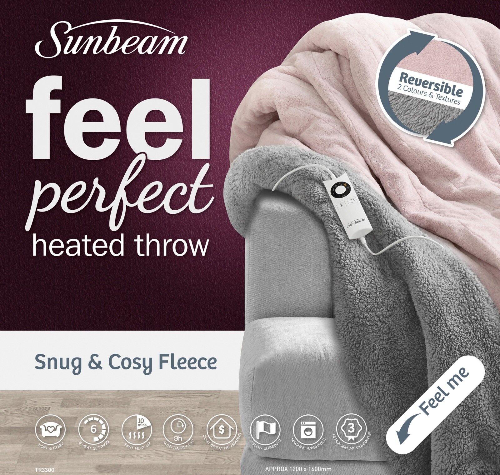 Sunbeam TR3300 Snug & Cosy Reversible Heated Throw - Pink & Grey