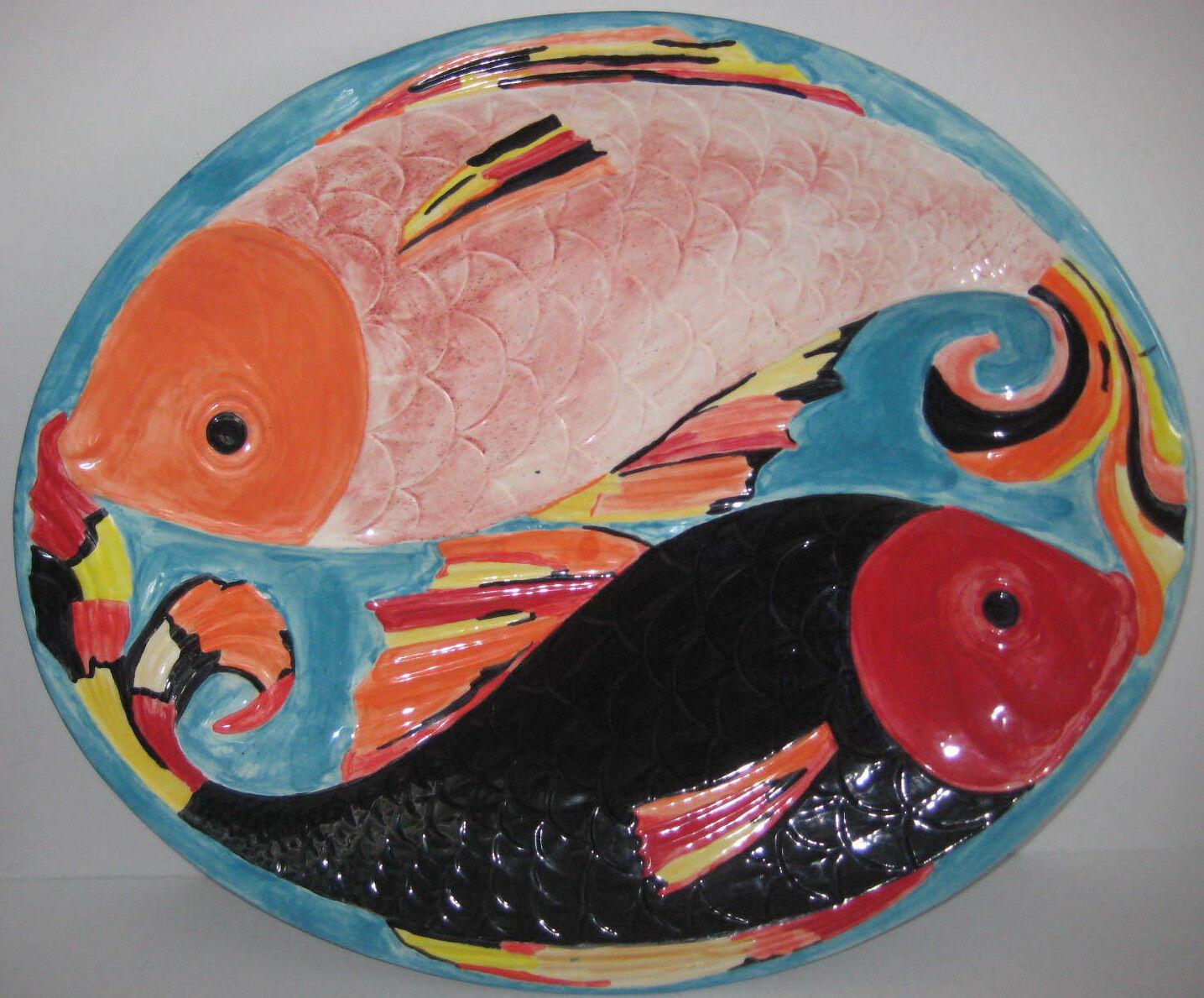 Grand Poisson Plateau 22  Couleuré peint à la main en céramique de fruits de mer Italie