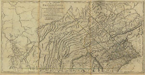RARE 1770 PA Map ARMSTRONG WYOMING CUMBERLAND County Pennsylvania History HUGE