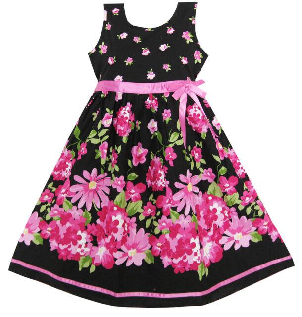 Sunny Fashion Girls Dress Hot Pink Flower Belt Party Christmas Kids Size 4-12