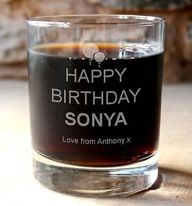 5011d11724f Image is loading Personalised-engraved-happy-birthday-glass-whisky-drinks- tumbler
