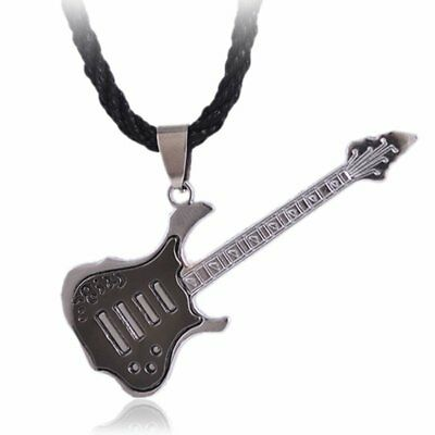 Guitar Stainless Steel Pendant Black Cord Necklace Mens Boys