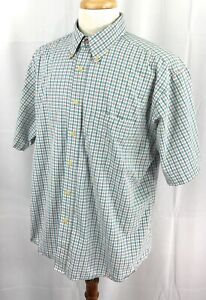 Pendleton-Wrinkle-Resistant-Short-Sleeve-Button-Down-Blue-Check-Shirt-Men-039-s-XL