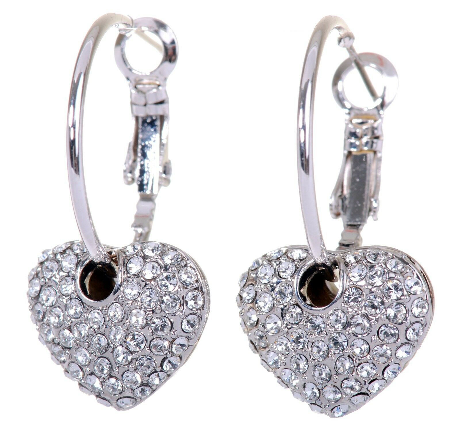 Swarovski Elements Crystal Starlet Puffed Heart Earrings Rhodium Authentic 7116u