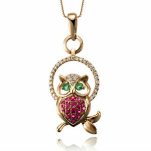 Ruby-Emerald-amp-Diamond-14k-Yellow-Gold-Over-Animal-Owl-Pendant-18-034-Chain-Necklace