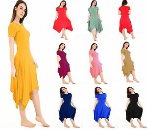 New-Womens-Ladies-Long-Hanky-Hem-Cap-Sleeve-Flared-Swing-Dress-Plus-Size-8-26
