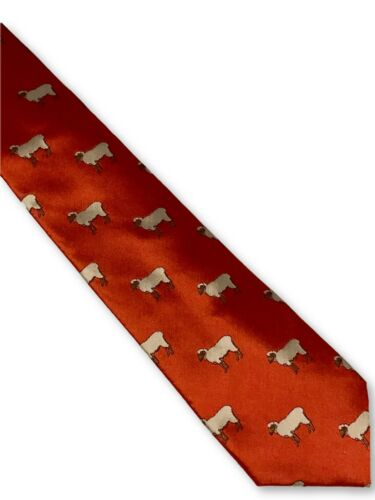 Frederick Thomas bright red men-s tie with sheep design classic necktie