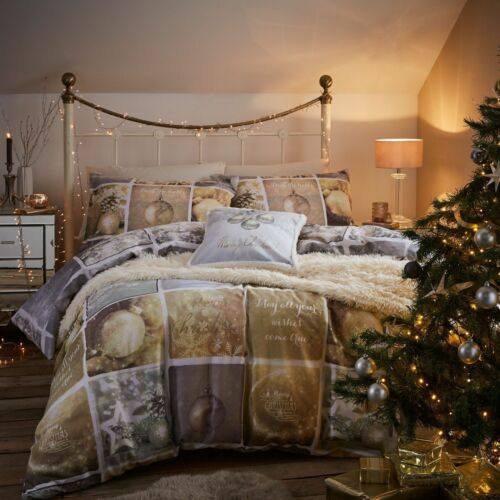 Catherine Lansfield Christmas Greetings Duvet Quilt Cover Silver /& Gold Bedding