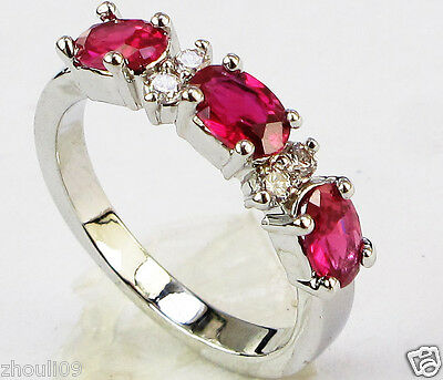 gorgeous 925 Silver Glod Filled Ruby 2.8ct fine Ring Size6-size10 wedding gift