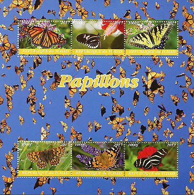 Knap Chad 2017 Cto Butterflies 6v M/s Monarch Butterfly Insects Stamps