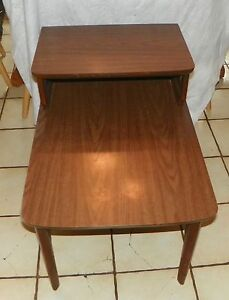 Walnut Mid Century Formica Top Step End Table Side Table by