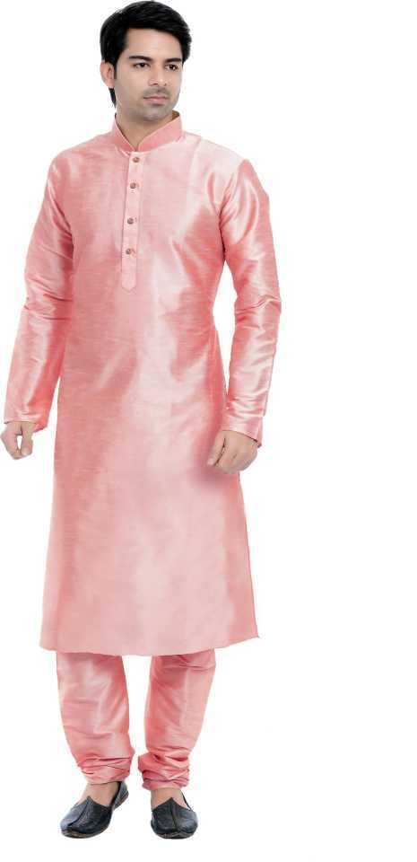 Men's Ethnic Churidar Kurta Pyjama Solid Cotton Silk Blend Kurta Pajama Set