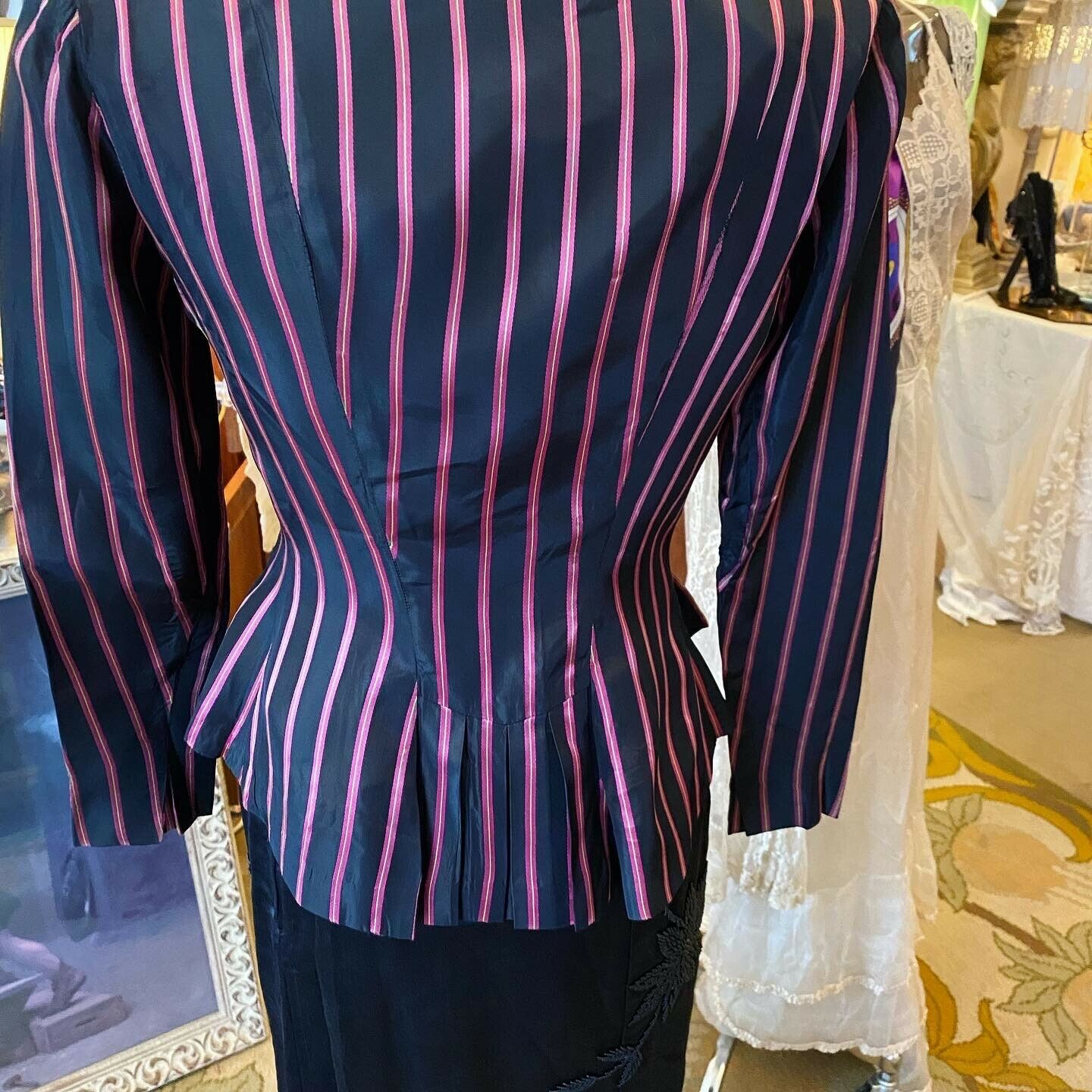 Vintage Rare Ceil Chapman  satin  stripe Fitted A… - image 2