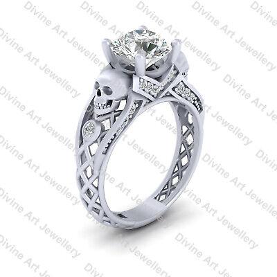 2.25ct Diamond Skull Engagement Ring Sterling Silver Mesh Skull Ring Gothic Wedding Ring US SIZE 7.5