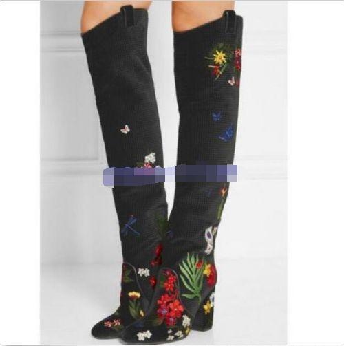 zapatos  De Cuero mujeres Floral Bordado Bloque Talón Talón Talón grueso de la rodilla Botas altas Nuevo e7968c