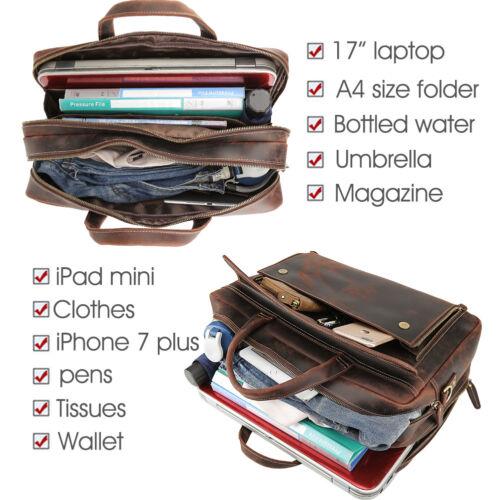 """Men Leather Briefcase 17/"""" Laptop Travel Messenger Shoulder Bag Weekend Luggage"""