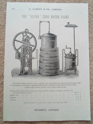 """ALPHA"" SODA WATER PLANT Vintage Image Copy Print Lumley+Co Minories London #426"