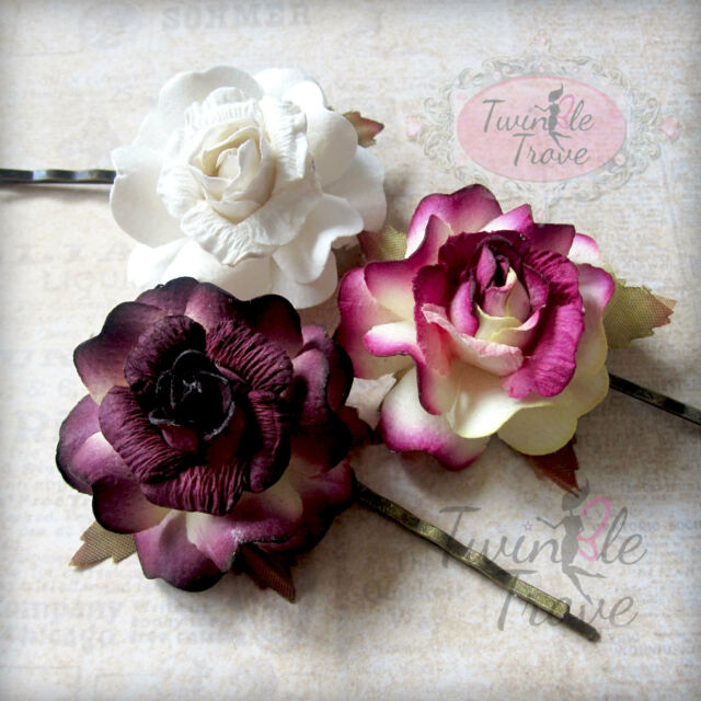 CLEARANCE Bridal Bridesmaid Summer Festival Rose Flower Bobby Hair Clips Pins