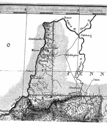 1823 VA MAP Ocean View Imboden Stafford Broadway Castlewood VIRGINIA History BIG
