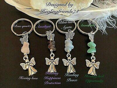 Angels Wings Keyring Gemstone Quartz Crystal Healing Reiki Chakra Migraine