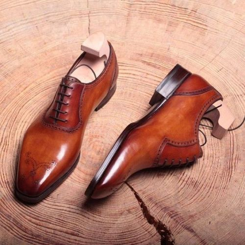 MENS NEW HANDMADE PURE LEATHER BROWN FORMAL SHOES