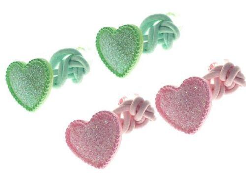 Green//Pink Glitter Heart Bobbles