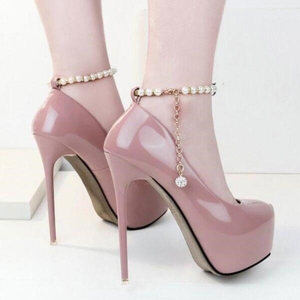 Pumps stilett 14 elegant rosa rosa rosa gurt plateau gurt simil leder 8423 194271