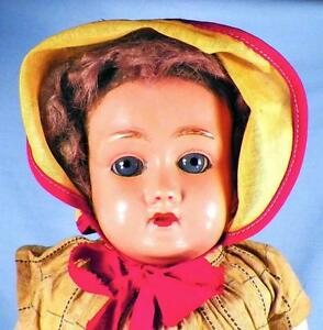 Vintage-Celluloid-Doll-Glass-Eyes-17in-Composition-Body-Turtle-Schutz-Mark
