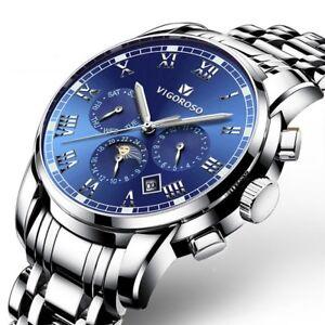 Men-039-s-Luxury-Watches-Date-Stainless-Steel-Waterproof-Quartz-Business-Wrist-Watch