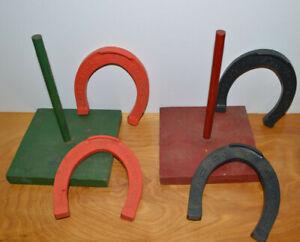 VINTAGE-CHILDRENS-HORSESHOES-GAME-WOOD-amp-PLASTIC-AUBURN