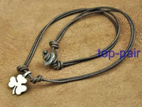 Surfer Leather Beach Choker Necklace Lucky Clover Brown